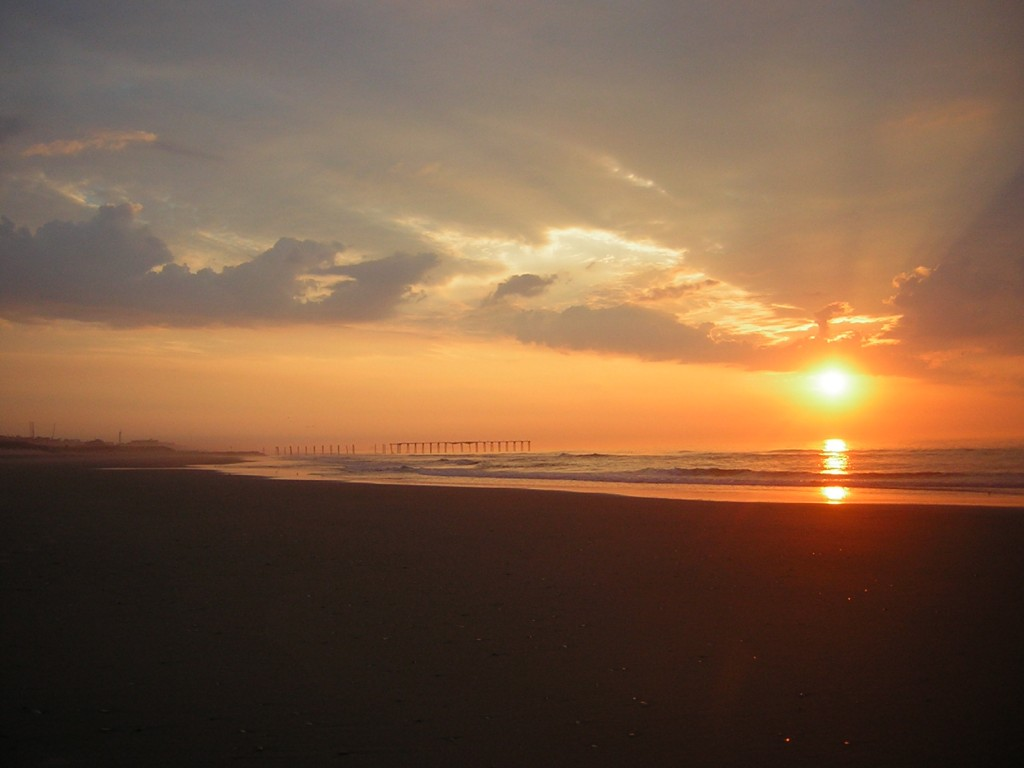 Sunrise over the beach in Ocean City, New Jersey